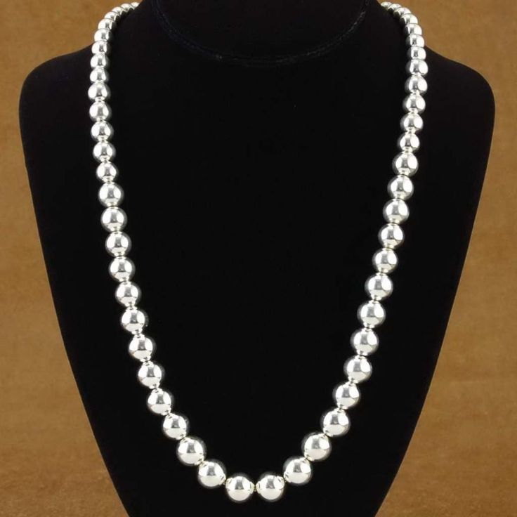 This Sterling Silver Beaded Necklace is a stunning piece of highly collectible Native American jewelry. This sensational necklace was hand strung with shimmering beads of Sterling Silver. These Sterling Silver beads have been strung back-to-back for the pure look of Silver.   eBay!