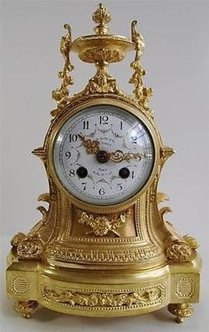 Antique clocks -19th c French S.Marti solid gilt bronze 8 day bell mantle clock