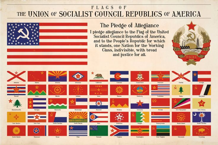 What if the US turned communist at some point in history. Here is my guess at how the national flag of the United Socialist Council Republics of America and the flag of the 50 states would look like.