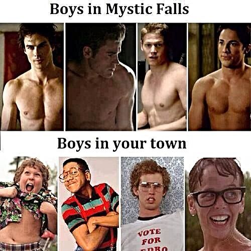 This is like so true. Compare these guys from vampire diaries to the boys here...