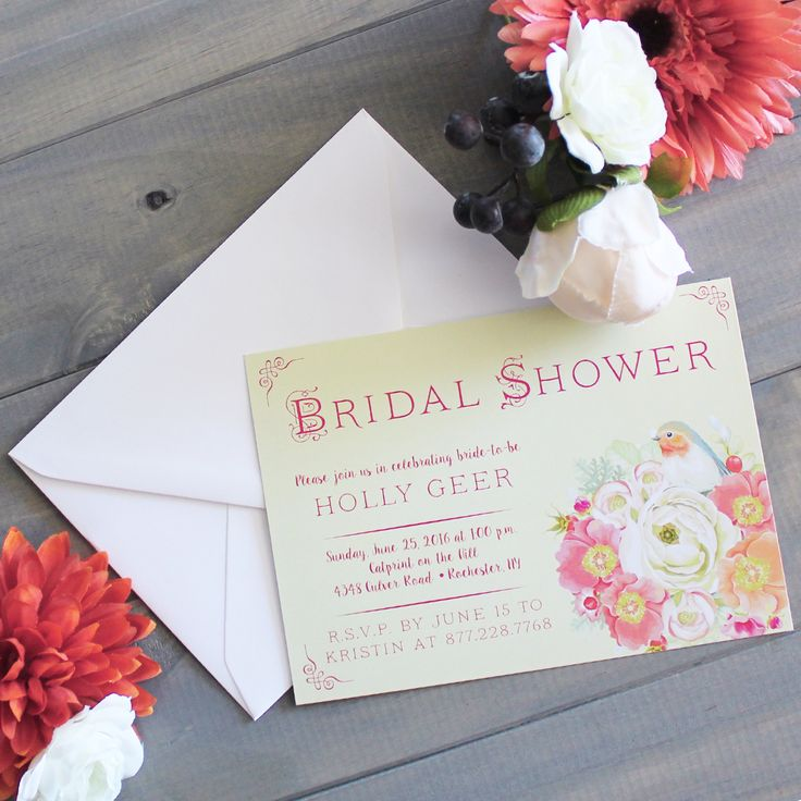Bird floral wedding bridal shower invitation design