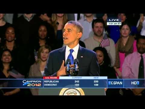 President Obama 2012 Victory Speech [C-SPAN] | President Obama spoke about Election Night Results to Supporters at his Presidential Campaign Headquarters in Chicago.