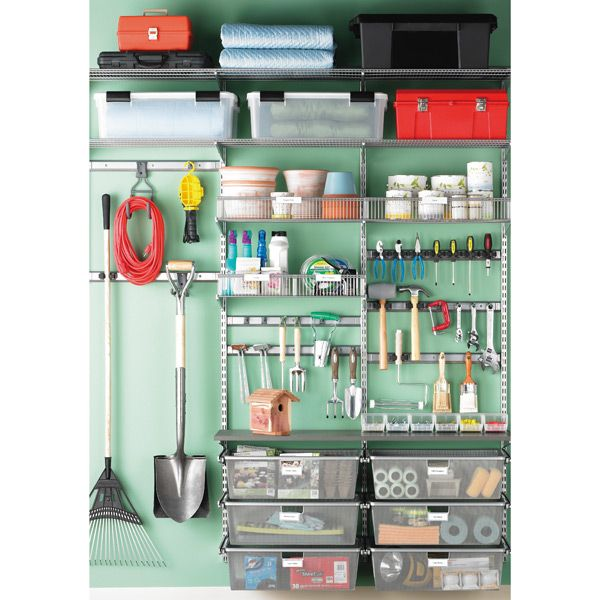 Reshape your garage with custom-tooled storage! Our Platinum elfa utility Garage Storage features Ventilated Shelves for storing items of varying sizes, Melamine Shelves for a stable work surface and smooth-gliding drawers for smaller things. Plus, there are a host of elfa utility Hooks and Holders to get those hard-to-store items up off the floor.