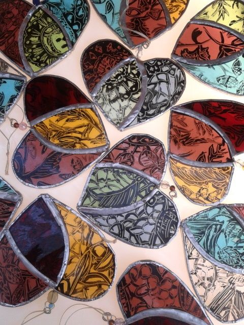 Painted Lace Stained Glass Heart £10.00