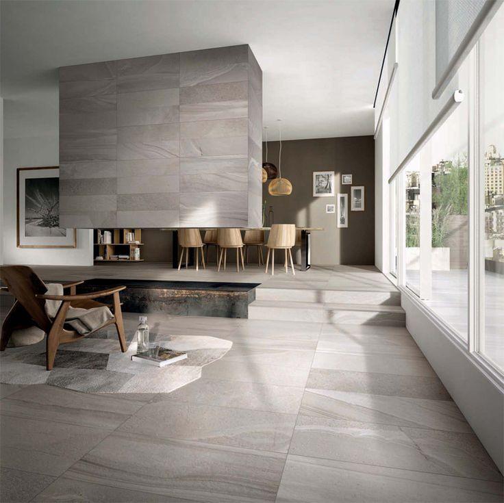 Pavimento e rivestimento in gres porcellanato rielaborate ispirandosi alla natura | Floor and wall coverings in porcelain stoneware reworked inspired by nature.
