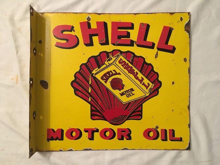 1940's Vintage Porcelain Shell Motor Oil 2 Sided With Flange Enamel Sign #Shell