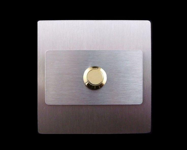TÜRKLINGEL. Klingelplatte- EDELSTAHL - knopf Gold - Design - Quadrat&Rechteck