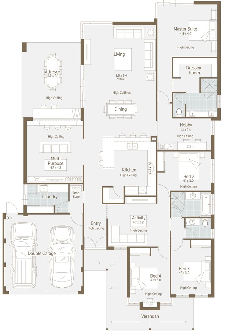 Here's a nice floor plan for a normal residential block. What I immediately liked is the multipurpose room.