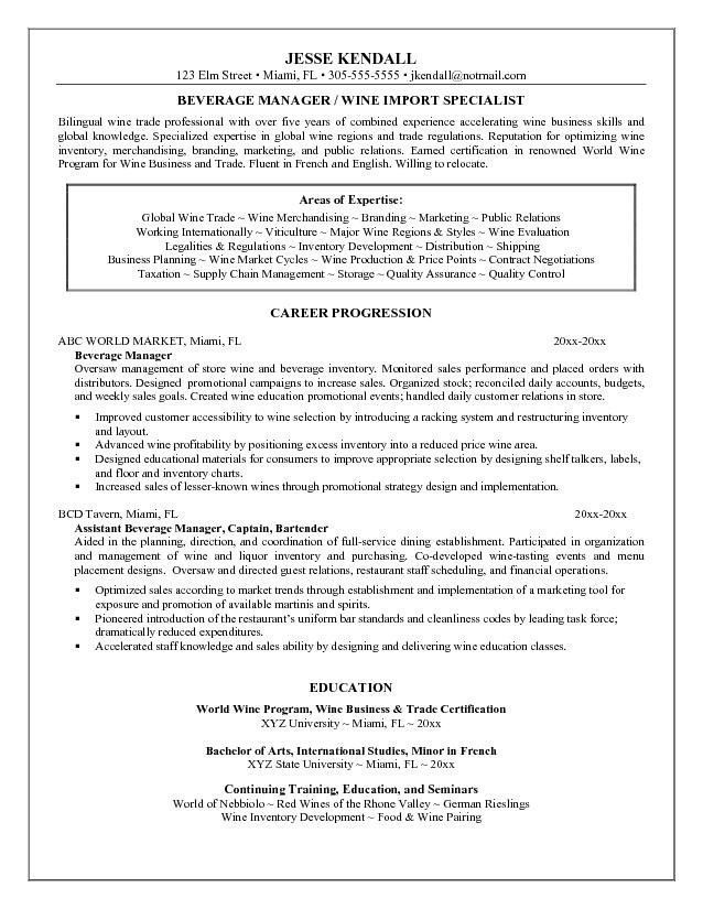 food and beverage manager resume excellent food and