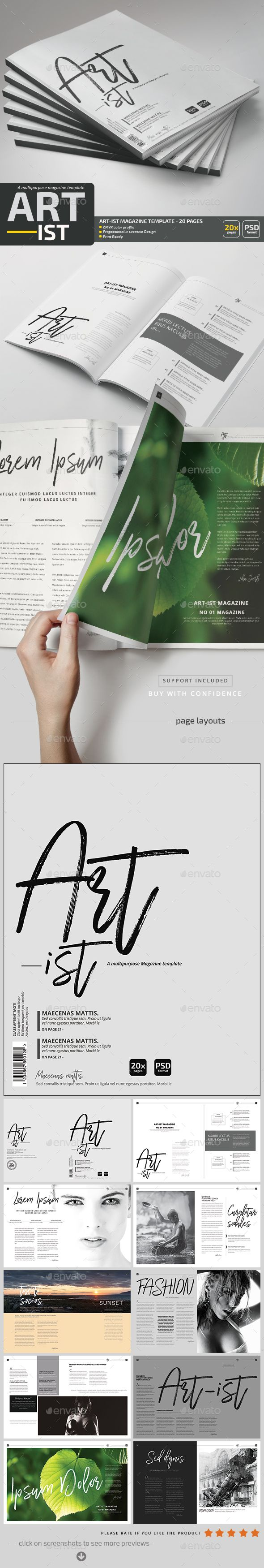 Art-ist Magazine Template V.6 by pmvch Art-Ist Photoshop Magazine Template Vol.6can be used as a magazine, portfolio or a brochure.Fully layered PSD files and very easy