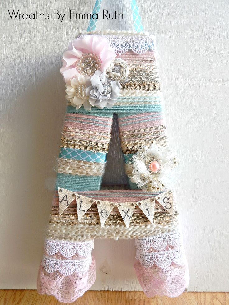 """Shabby Chic Wrapped Letter 16"""" Made by Wreaths By Emma Ruth on Etsy and Facebook"""