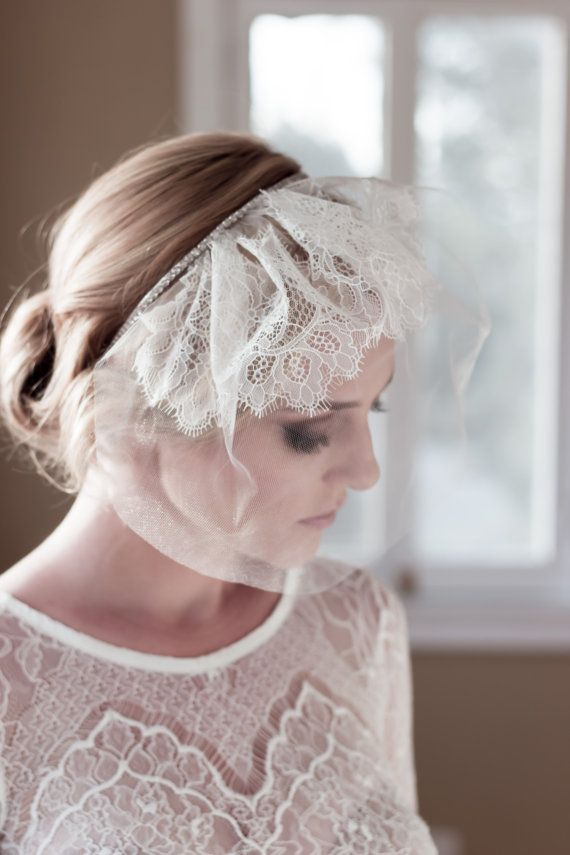 Vintage Mini Wedding Veil with Floral Chantilly by veiledbeauty, $179.00 - I like the look of this one. You get the veil look without the busyness of layers and length and full lace.