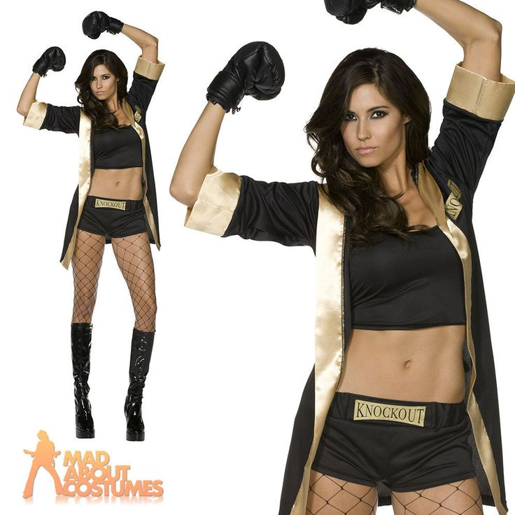 Fever Knockout Costume Sexy Boxer Ladies Womens Fancy Dress Outfit 8 - 14