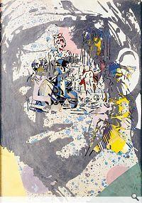 Sigmar Polke (b. 1941) Large Head, 1979.  Oil, acrylic and water colors, stencil art, paper cutting, 980 x 680 mm.  Städel Museum.  © Sigmar Polke Photo: Ursula Edelmann