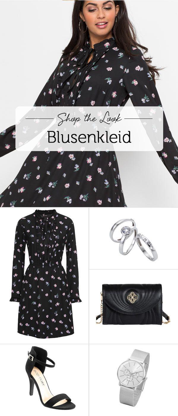 57cc7566ac8f8b Ein feminines Blusenkleid mit Allover Blumen-Print, Biesen, Rüschen, einem  hübschen Schleifendetail sowie einem leichten Stehkragen. Dieses Kleid hat  ...