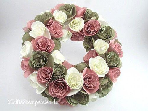 Nellis Stempeleien Blumenkranz mit der Originals Form Spiralblume von Stampin' UP! / Spiral Flower Die