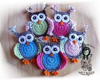 Crochet PATTERN, Applique Jolly Owl, DIY Pattern 4, Instant Download