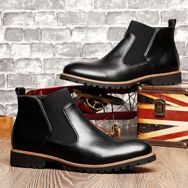 Men Comfortable Genuine Leather Elastic Band Ankle Boots - US$54.90