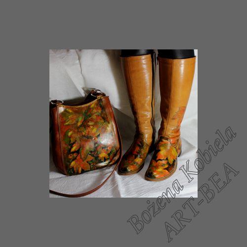 torby-torebki- buty ze skóry naturalnej 100% - ręcznie malowane barwnikami do skór naturalnych. Wszystkie prezentowane torebki / buty i ich powierzchnia malarska jest odpowiednia do normalnego stałego użytkowania. www.kobiela.sgl.pl