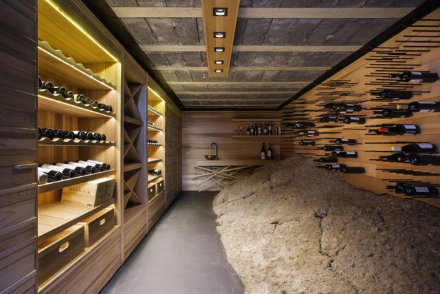 Wine cellar by ADK Cabinetworks and wash basin unit by James Mudge