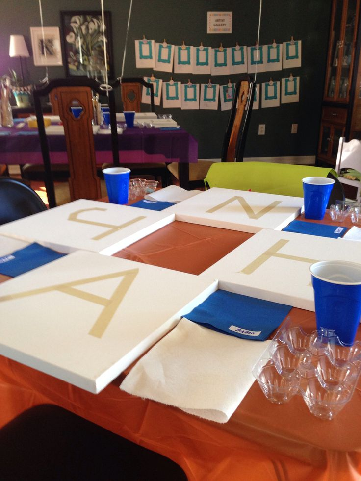 Oh, this is cute too, masking tape letters so kids decorate the canvas, then remove the tape!