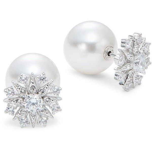 Nadri Faux Pearl Front-Back Earrings ($24) ❤ liked on Polyvore featuring jewelry, earrings, silver, faux pearl jewelry, sparkly earrings, imitation jewellery, imitation pearl earrings and post earrings