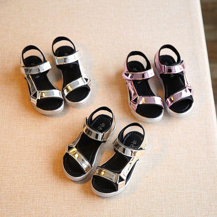 Summer Girls leather Sandals 2017 kinder Sandalen Children Ccasual Sandals Chaussures Enfants Filles Boys Beach Shoes Gold Shoes