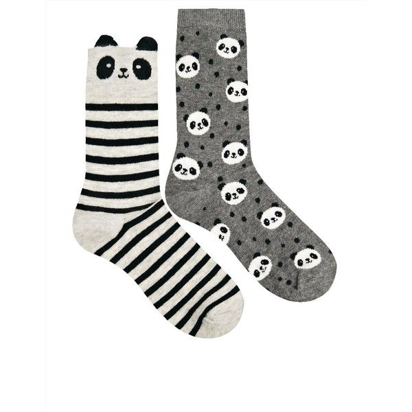 Oysho Panda 2 Pack Socks (66 SEK) ❤ liked on Polyvore featuring intimates, hosiery, socks, panda, + accessories, accessories, socks / tights, panda socks, cotton socks and oysho