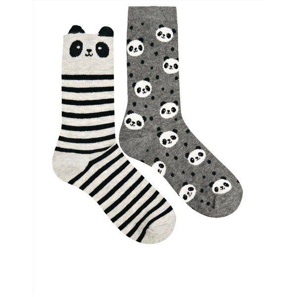 Oysho Panda 2 Pack Socks (66 SEK) ❤ liked on Polyvore featuring intimates, hosiery, socks, panda, + accessories, accessories, socks / tights, panda socks, cotton socks and oysho