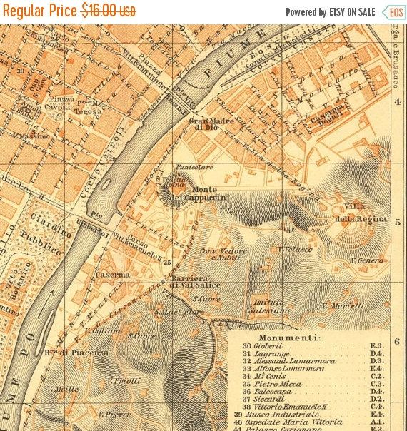 1913, Turin Map, Italy.