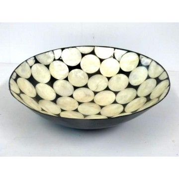 Bowl 30d Pearl Shell Dots in Black Resin