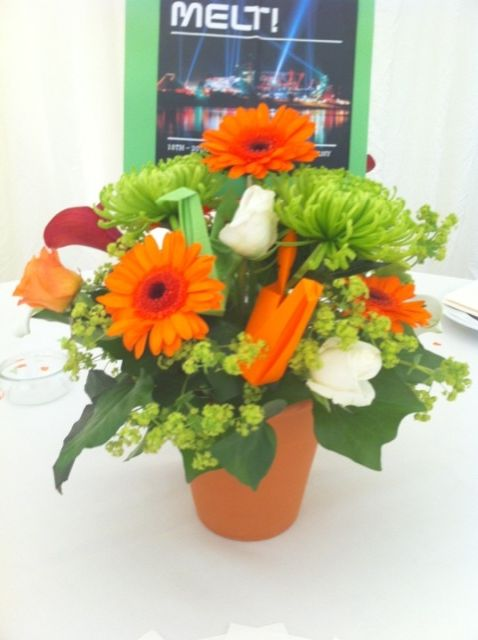 Example table posy on teracotta pot