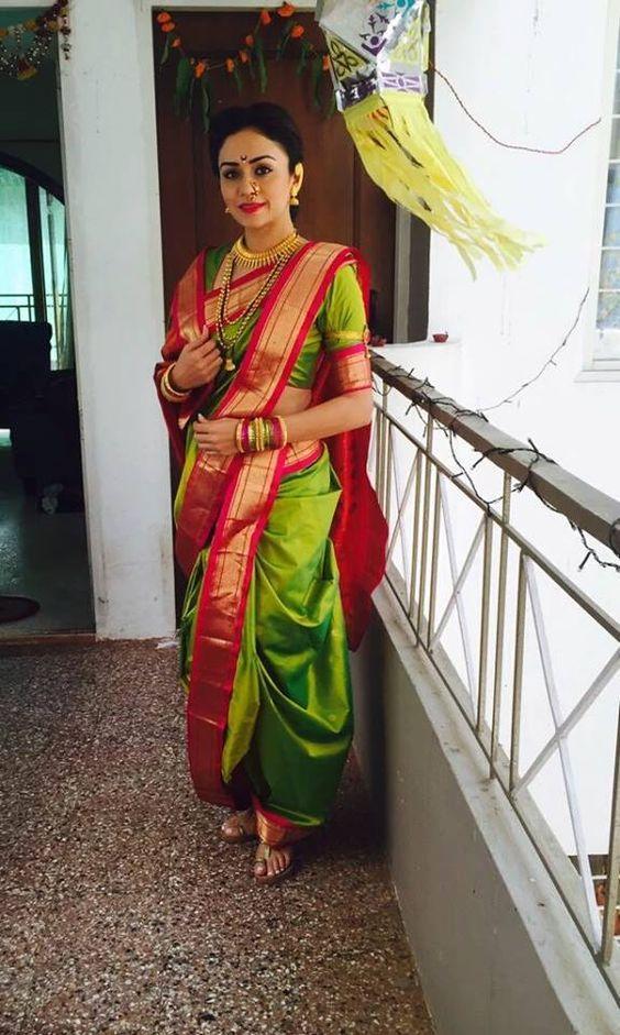 The Marathi style drape has become increasingly uncommon and is no longer seen unless at weddings or special traditional occasions. www.shopzters.com