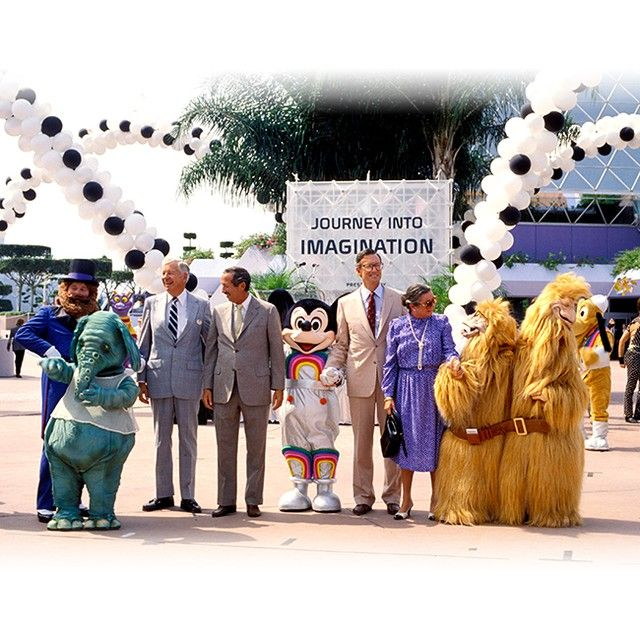 The 1986 Grand Opening of Captain EO with Roy E Disney, Frank Wells & Dreamfinder/w Figment!