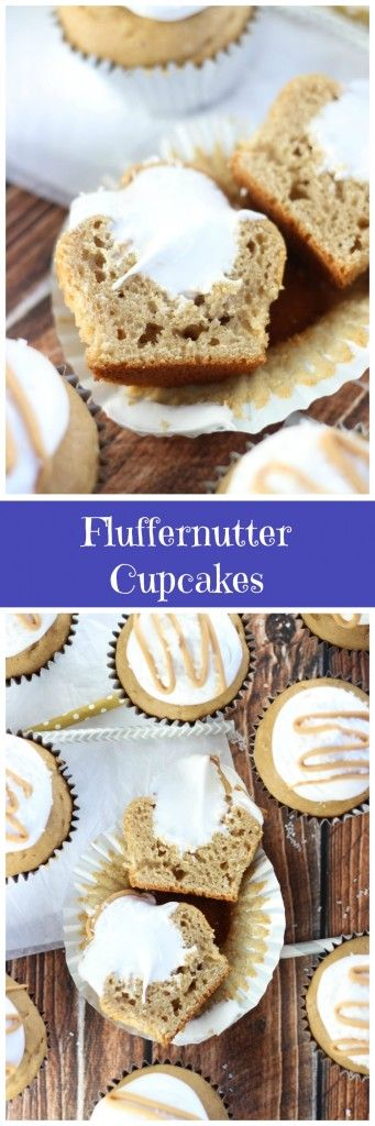 Simple peanut butter cupcakes, filled and topped with homemade marshmallow frosting!