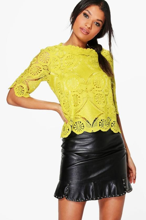 Evie Crochet Lace Shell Top $36
