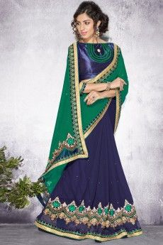 Green with blue Georgette Saree With Art silk Blouse - DMV8800