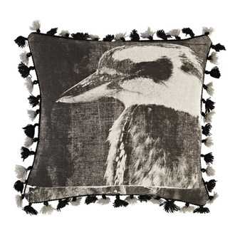 Hand screen printed cushion, kookabura black on linen