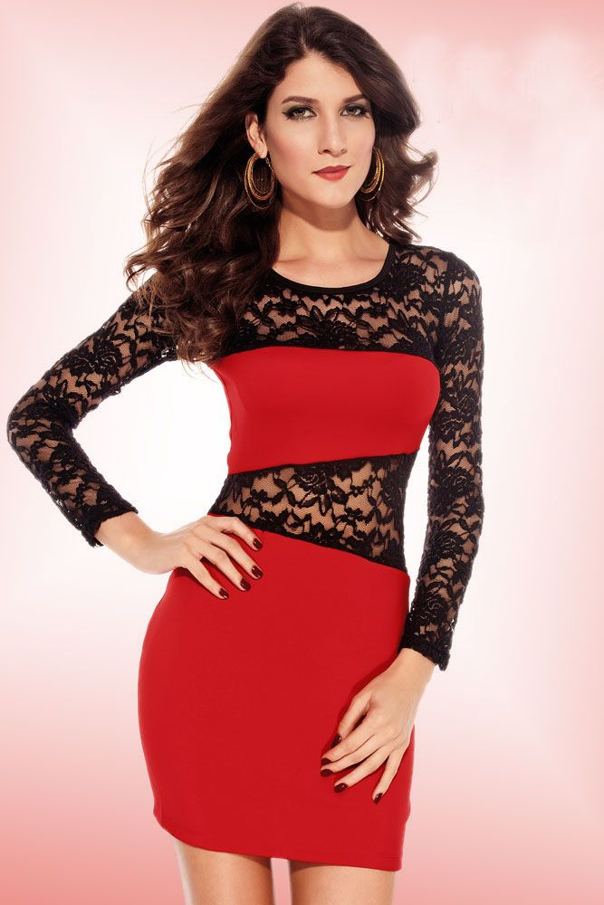 Amanda Lace Insert Dress Red