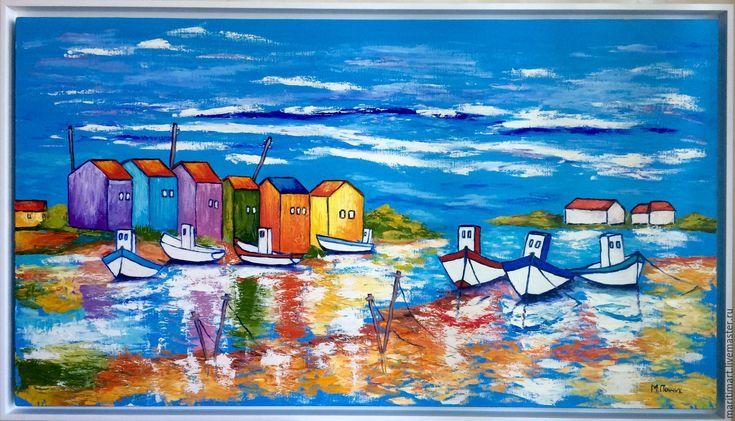 Купить Картина маслом. Рыбацкий залив - синий, картина в подарок, картина для…