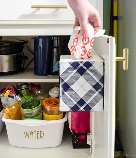 Kleenex Box For Plastic Bag Storage :: IHeart Organizing