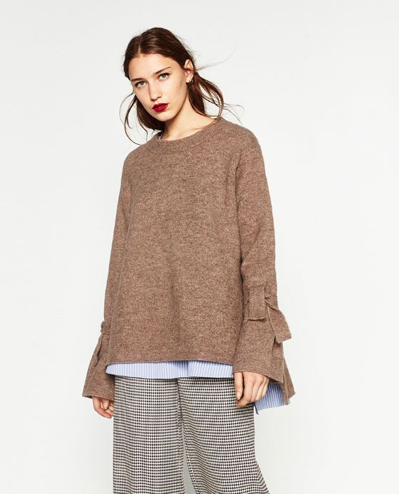 Image 3 of SWEATER WITH TIE DETAIL ON SLEEVE from Zara