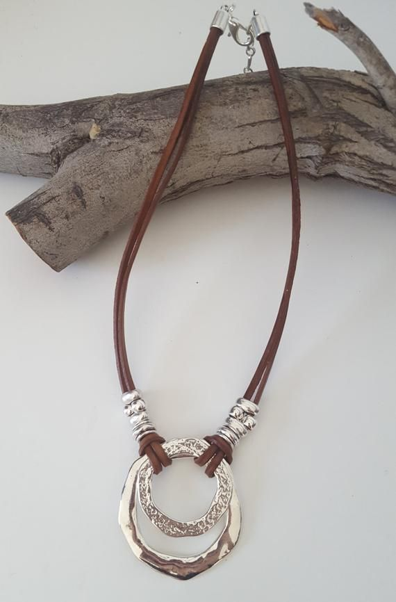 24a78008303b endless Ring Boho leather necklace woman leather choker