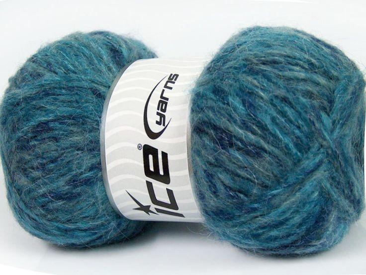 Sonbahar - Kış İplikleri Kışlık Yün Tiftik hantal Turkuaz Mavi Tonları  İçerik 43% Akrilik 27% Polyamid 15% Tiftik 15% Yün Turquoise Brand ICE Blue Shades fnt2-41168