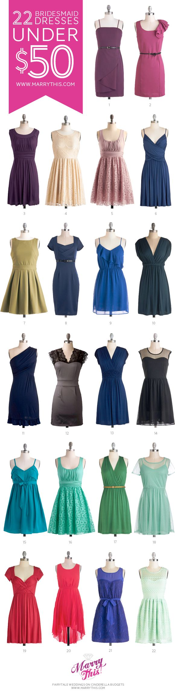 1000  ideas about Bridesmaid Dresses Under 50 on Pinterest ...