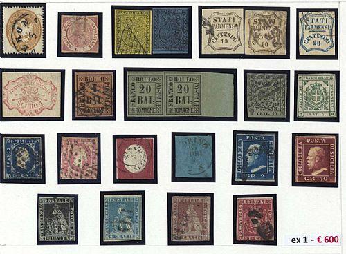 Antichi Stati - circa 100 francobolli tra nuovi, senza gomma, usati e frammenti. Qualità molto mista, alcuni firmati   blocchi di ristampe del 10 e 20 c. II emissione di Pontificio.