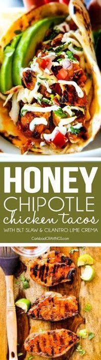 These are ADDICTINGL These are ADDICTINGLY DELICIOUS! Honey...  These are ADDICTINGL These are ADDICTINGLY DELICIOUS! Honey Chipotle Chicken Tacos stuffed with wonderfully juicy flavor packed Honey Chipotle Bacon Chicken (yes BACON chicken!) piled with crispy BLT Slaw and creamified with Cilantro Lime Crema! Recipe : http://ift.tt/1hGiZgA And @ItsNutella  http://ift.tt/2v8iUYW