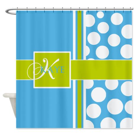 Sky Blue Green Polka Dots Monogram Shower Curtain