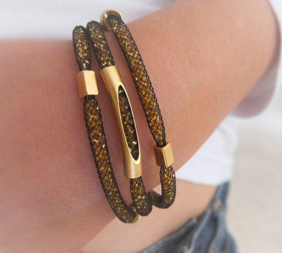 golden glitzy Mesh tube bracelet , black and gold glamour net design, handmade chic mesh net triple bracelet, stardust mesh jewelry