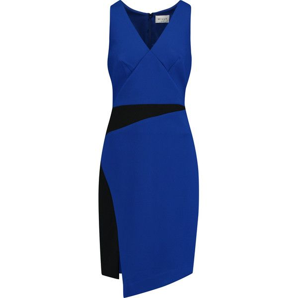 Milly Two-tone cady dress (4,460 MXN) ❤ liked on Polyvore featuring dresses, royal blue, two-tone dress, front slit dress, electric blue dress, royal blue dress and slim fit dress